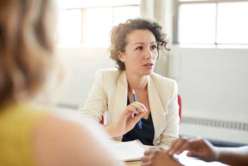 woman at meeting